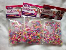 900 Loom Bands Rubber Refill Neon Pink Blue & Yellow w/ hooks & s-clasps Bundle