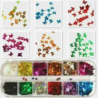 3D Laser Butterfly Sequins Holographic Nail Art Flakes Glitter Foil Decoration T