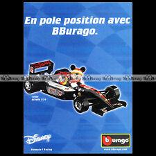 FORMULE 1 F1 RACING MICKEY DISNEY BBURAGO Burago - Pub Pubblicità Advert #A447