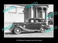 OLD POSTCARD SIZE PHOTO OF 1934 HUDSON TERRAPLANE LAUNCH PRESS PHOTO