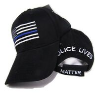 TBL USA Police Memorial Thin Blue Line Police Lives Matter Black Cap Hat