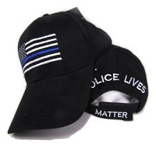 "USA Police Memorial Blue Line ""Police Lives Matter"" Black Embroidered Cap Hat"