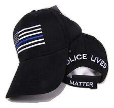 USA Police Memorial Blue Line Police Lives Matter Black Embroidered Cap Hat