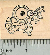 Fish Detective Rubber Stamp, with Magnifying glass G34602 WM