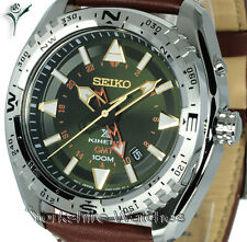 New SEIKO KINETIC GMT GREEN FACE Dual Time CALF LEATHER BUCKLE STRAP SUN051P1