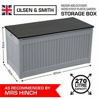 Mrs Hinch Outdoor Garden Storage Box Plastic Chest Cushion Shed Box Grey 270L