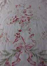 Antique English c1920 Large Home Dec Scale Faded Roses, Baskets & Ribbons Fabric