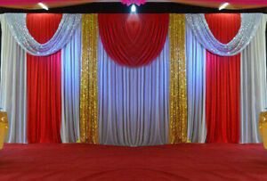 20X10FT Backdrop Drape Wedding Party Stage Fabric Curtain Sequin Swag Background