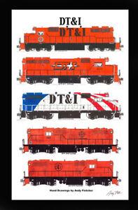 "Detroit, Toledo & Ironton 11""x17"" Poster in 12""x18"" mat Andy Fletcher signed"