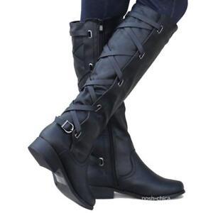 Bandage Motorcycle Slim Calf Knee High Riding Buckle Zip Cowboy Winter Boots FI