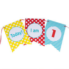First Birthday Banner High Chair Banner Bunting Decoration for Baby Girl Boy