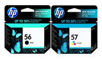 2 PK Genuine HP56 57 (C6656AN/C6657AN)  Ink Cartridges In Original Sealed Bags