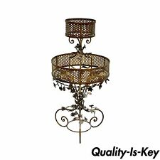 Vintage Italian Hollywood Regency Gold Tole Iron Floral Planter Plant Stand