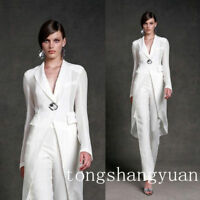 Fashion White Chiffon Mother Of Bride Pant Suits Formal Evening Gown Party Dress