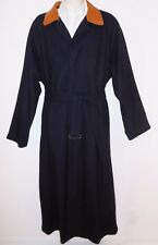 Gant L XL Wool Trench Coat Mens Jacket Leather Collar Overcoat Navy Blue Large