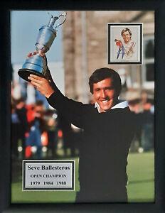 Signed Framed Seve Ballesteros 1979 84 88 Open Golf Champion Autograph Photo COA