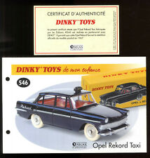 DINKY Toys / Atlas Sheet And Certificate for The Model N° 546 Opel Rekord Taxi