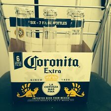 Coronitas 6 Small, Empty Bottles With Caps And Carrying Box.