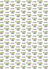 Personalised Thank You wrapping paper with two tags.