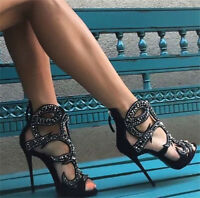 Women's Stilettos high heel Gladiator Sandals Rhinestone Peep toe Roma Shoes UK8