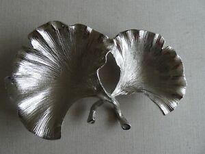 Metal Leaf  - Trinket Plate - Gingko Leaf Ornament - Silver Tone