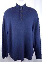Nautica Men's Mock Turtleneck 1/4 Button Cable Knit Sweater - (Navy Blue, Large)