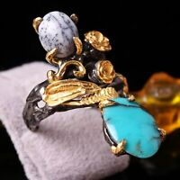 Natural Agate Turquoise Stone Turkish  925 Sterling Silver Ladies Womans Ring