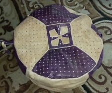 New Handmade POUF Genuine Leather Pouffe Ottoman Footstool round floor pillow