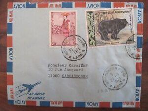 1973 Laos flight FRANCE cover Air Mail CARCASSONNE Indo china Par Avion
