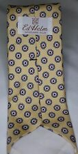 Vintage JACOBS ROBERTS English Foulard Silk Necktie Yellow Grey Suede Finish Tie