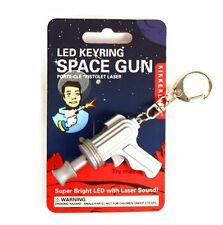 kikkerland CARDED SPACE GUN LED Keyring KRL28C Red Light/Laser Sound key chain