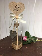 Wedding Table Numbers Stand,Hessian,Rustic,vintage,Decorations,Customised,Vase