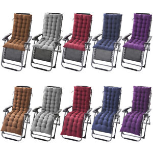 Lounge Chair Cushion Tufted Soft Outdoor Rocking Seat Deck Chaise Pad+Ties
