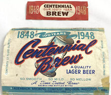 Vintage Centennial Brew Lager Beer Label Fauerbach Brewing Madison Wisconsin