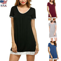 Women Summer Short Sleeve Shirt Dress Robe Casual Sleepwear Pajama Nightgown New