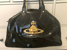 Vivienne Westwood Large Classic Orb Black Patent Leather Tote Bag
