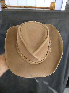 MINNETONKA Natural Beige Genuine Leather Western Cowboy HAT   Large