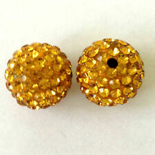10 Topaz Rhinestone clay pave 12mm beads for Shamballa Bracelets