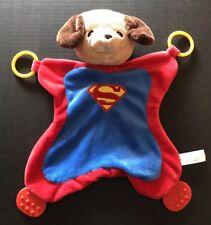 BABY GUND SUPER HERO DOG SECURITY BLANKET LOVEY TEETHER RINGS red blue B4