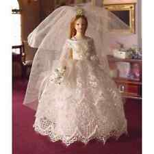 DOLLS HOUSE DOLL 1/12th SCALE BRIDE  IN CREAM LACE AND SATIN GOWN