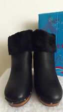 LADIES STYLISH PLATFORM BLACK ANKLE BOOTS FUR TOP, ZIP UP BACK WOMEN'S SHORT