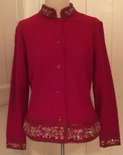 Talbots Red Wool Short Jacket Beaded & Embroidered Trim Petite M