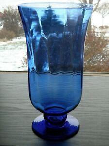 """2002 HITC Cobalt Blue Optic Rib Glass 9 1/4"""" Bulb Forcing Flower Hurricane Vase"""