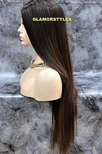 "36"" Straight Layered Black Auburn Mix Full Lace Front Wig Heat Ok Hair Piece"