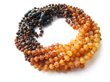 Amber Wholesale, Lot of 10 Rainbow Color Raw Baltic Amber Baby Necklaces