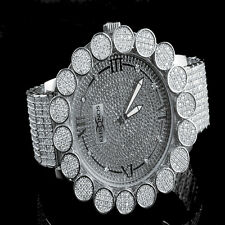 Khronos Men's Real Diamond Joe Rodeo White Clear Cluster Bezel Iced Out Watch