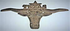 TX Texas Longhorn Cast Iron Wall Decor Lone Star Farm Rustic Ranch Country New