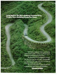 1990 Bridgestone Tires S Curve Roads Green Forest Vintage Print Advertisement