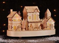 Beleuchtete Weihnachtsstadt LED mit Zug Weihnachtsdorf Eisenbahn Holz Deko