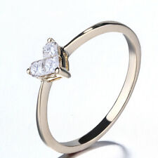 14K Yellow Gold Heart Three Natural SI/H Diamonds Engagement Fine Ring Invisible